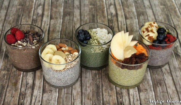 Chia pudding in 5 versions