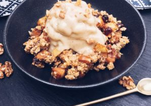 Birnen Crumble mit Nicecream