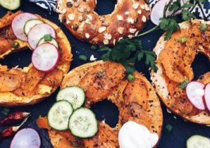 vegane Lachs Protein-Bagels