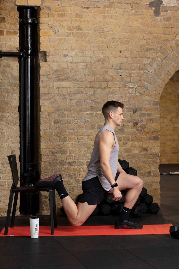chair bulgarian split squat step 2
