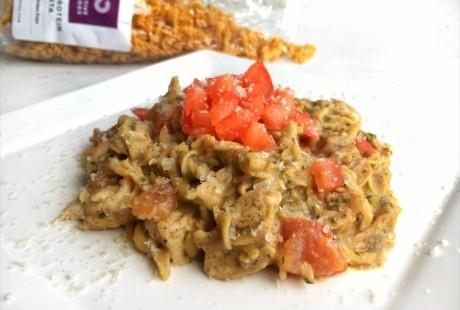 High protein pasta pesto