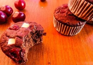 Veenbessen cupcakes met whey protein witte chocolade
