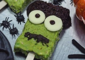 Halloween recept - Frankenstein crispy pops