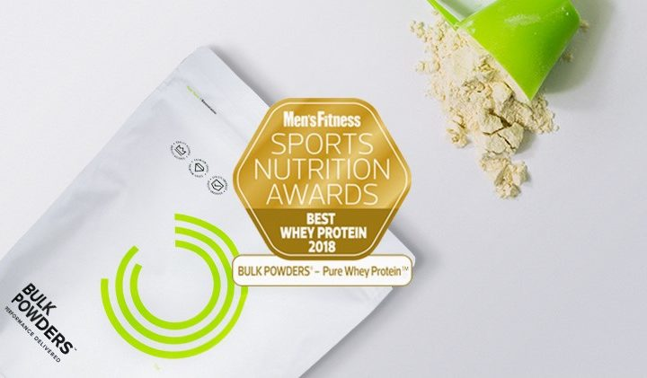 Proteína Whey da BULK POWDERS® considerada a melhor, pela revista Men's Fitness UK