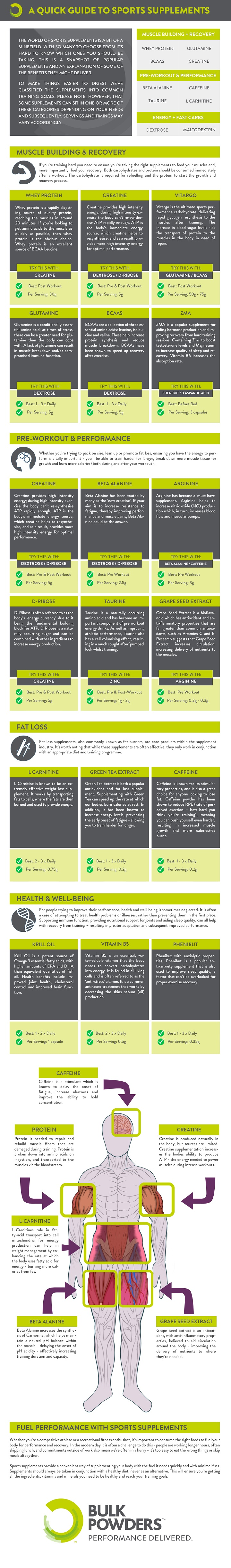 BULK POWDERS Guide to Sports Supplements Infographic