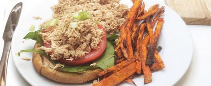 Pulled Chicken Open Faced Burgers with Sweet Potato Wedges