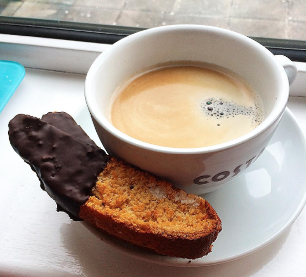Biscotti dipped in chocolate