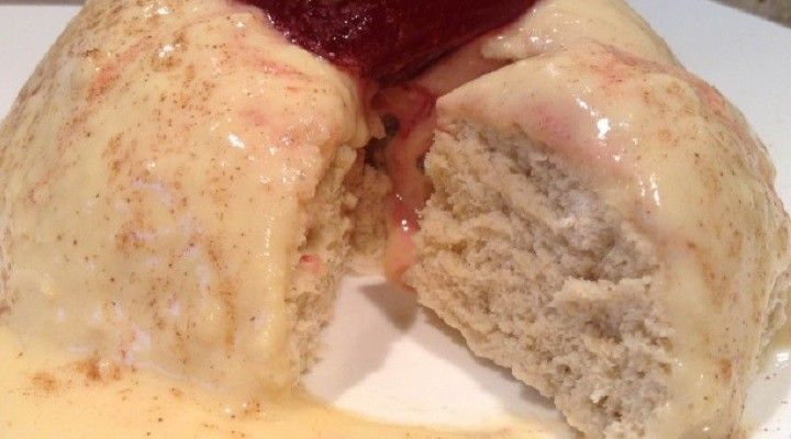 Protein Sponge Pudding with Protein Custard