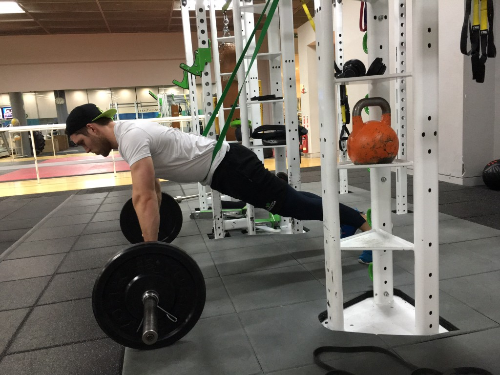 Barbell Roll Out with Resistance Band