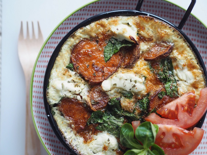 sweet potato and spinach fritatta