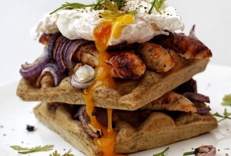 Harissa Waffles with Sausages and Poached Egg Recipe