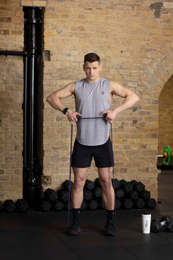 resistance band upright row prep