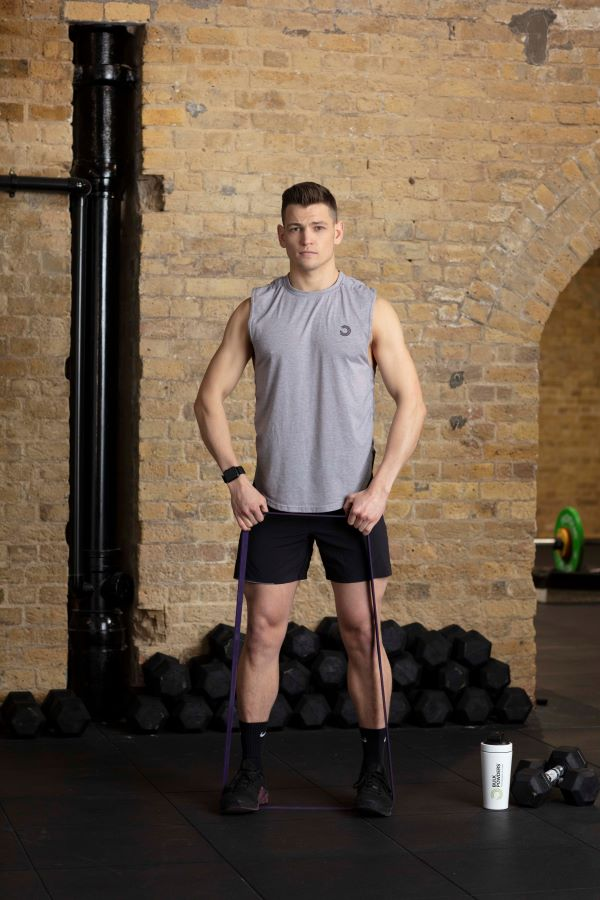 resistance band upright row lower